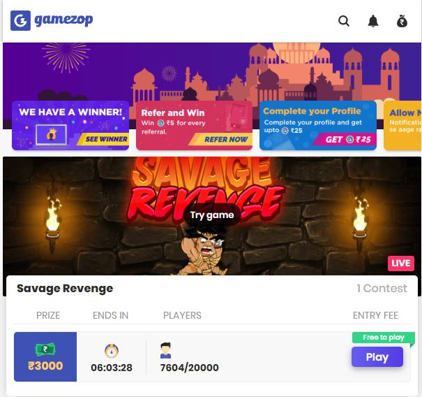 Gamezop Win online real money playing mobile games